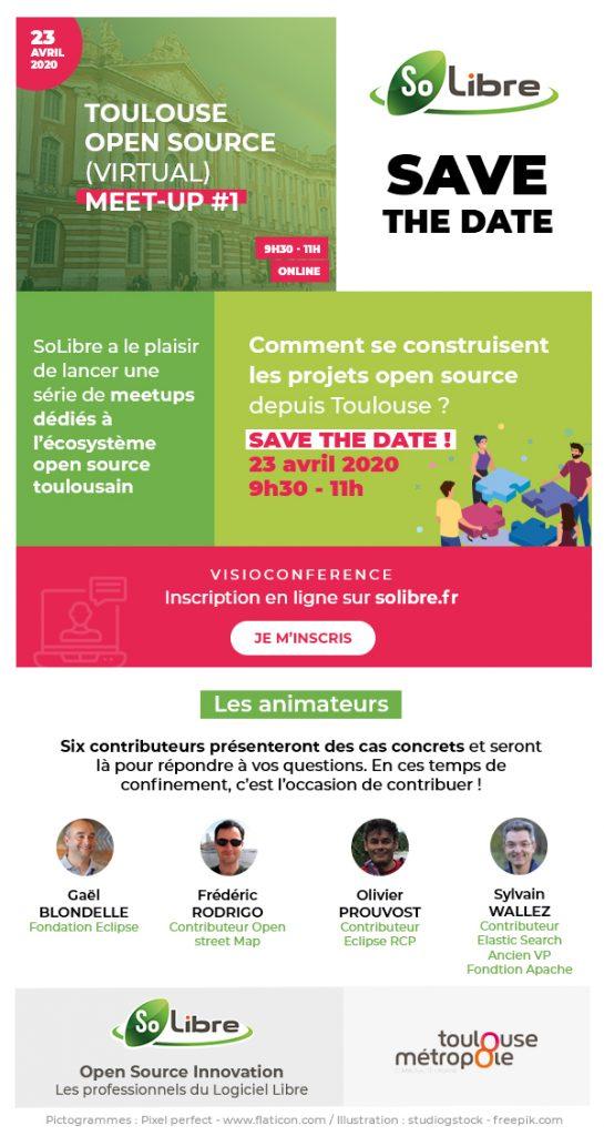 Toulouse, ce n'est pas que l'aéronautique ! La région Occitanie et la ville rose sont reconnues pour être des hauts lieux de l'innovation IT, et plus particulièrement de l'Open Source. Qui sont les acteurs du territoire ? Comment se construisent les projets Open Source ?  SoLibre a le plaisir de vous convier à une série de meet-up dédiés à l'écosystème open source toulousain, ouverts et accessibles à tous, sans aucun pré-requis nécessaire.   5 contributeurs présenteront des cas concrets et répondront à vos questions  Les intervenants de cette première édition, le 23 avril, 9h30 - 11h :       Olivier Prouvost , contributeur Eclispe, dirigeant OpCoach     Gaël Blondelle, Vice Président de la fondation Eclipse     Frédéric Rodrigo,  mainteneur Osmose-QA OpenStreetMap, expert webmapping Makina Corpus     Sylvain Wallez, employé Elastic, éditeur ElasticSearch Ancien VP Fondation Apache     Emile Vauge, créateur de Containo.us et Traefik